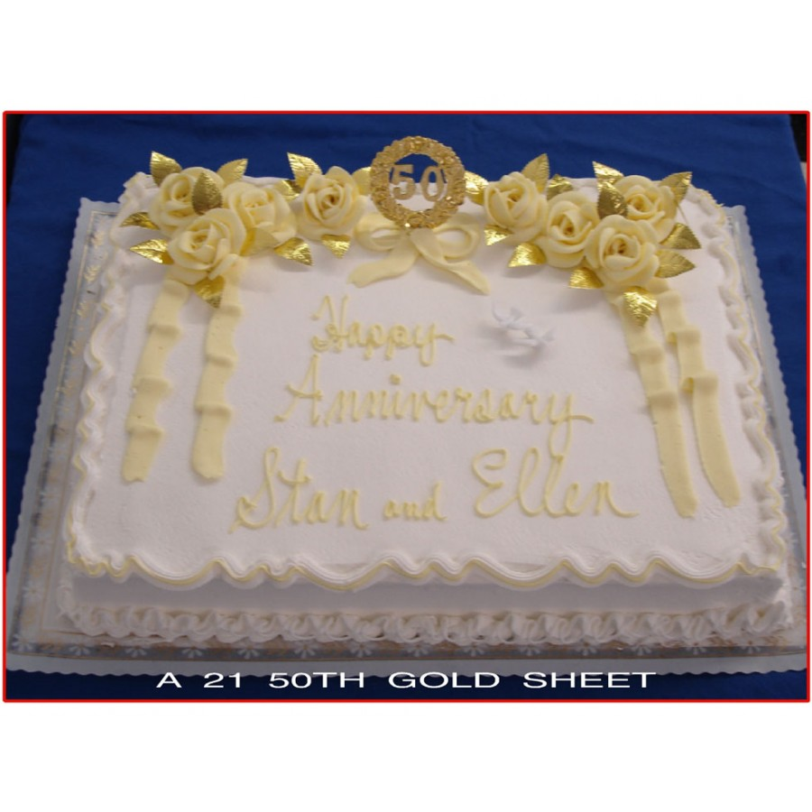 50th Gold Sheet Cake